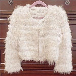Alice Olivia fawn fox & rabbit fur bomber jacket.